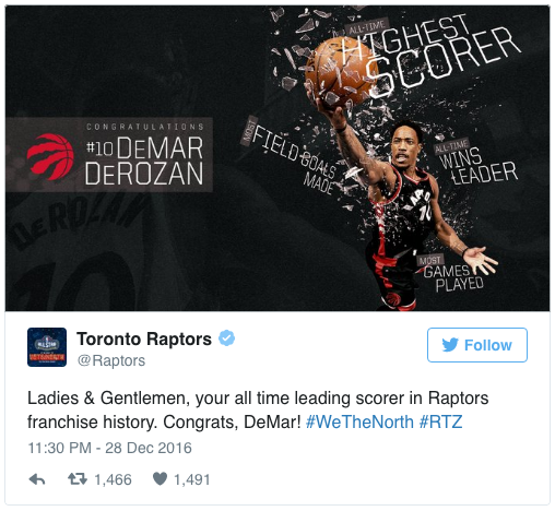 DeRozan Breaks Raptor Record