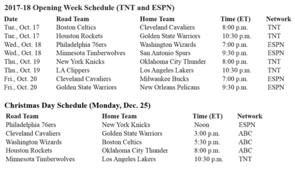NBA Unveils National TV Games for 2017/18
